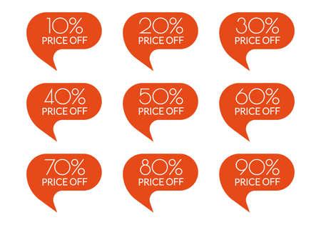 Sale sticker set. 10,20,30,40,50,60,70,80,90 percent price off discount label or tag. Promo badge for advertising design. Vector illustration.