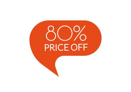 Sale sticker. 80 percent price off discount label or tag. Promo badge for advertising design. Vector illustration. Çizim
