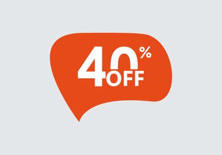 Sale sticker. 40 percent price off discount label or tag. Promo badge for advertising design. Vector illustration. Ilustração