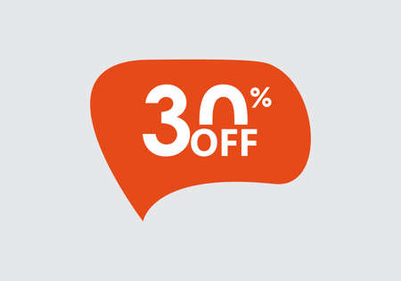 Sale sticker. 30 percent price off discount label or tag. Promo badge for advertising design. Vector illustration.