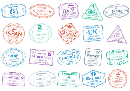 Passport stamp set. Visa stamps for travel. International airport sign. Immigration, arrival and departure symbols with different cities and countries. Vector illustration. Ilustração