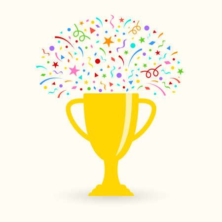 Trophy cup icon with confetti. Winner prize. First place award. Vector illustration.