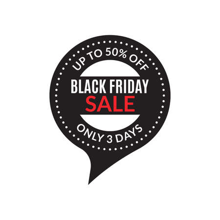 Black Friday sale badge or stamp. Up to 50 percent price off. Discount icon. Vector illustration. Çizim
