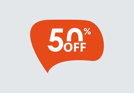 Sale sticker. 50 percent price off discount label or tag. Promo badge for advertising design. Vector illustration. Ilustração