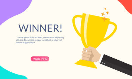 Trophy cup in hand. Banner or poster design with hand holding a winner cup. Champion prize. First place award. Victory and success concept for landing page. Vector illustration. Ilustração