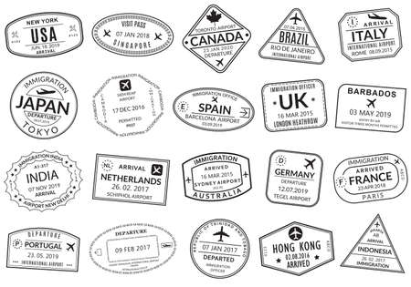 Passport stamp set. Visa stamps for travel. International airport sign. Immigration, arrival and departure symbols with different cities and countries. Vector illustration. Illusztráció