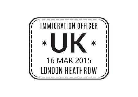 UK Passport stamp. United Kingdom visa stamp for travel. London international airport grunge sign. Immigration, arrival and departure symbol. Vector illustration. Çizim