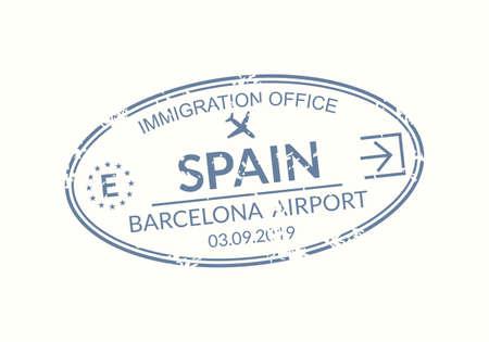 Spain passport stamp. Visa stamp for travel. Barcelona international airport grunge sign. Immigration, arrival and departure symbol. Vector illustration. Çizim