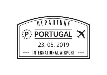 Portugal passport stamp. Visa stamp for travel. International airport grunge sign. Immigration, arrival and departure symbol. Vector illustration. 矢量图像