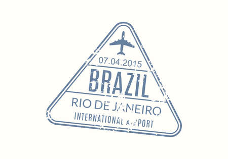 Brazil Passport stamp. Visa stamp for travel. Rio De Janeiro international airport grunge sign. Immigration, arrival and departure symbol. Vector illustration.