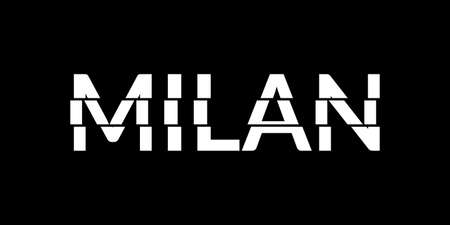 Milan typography text. Milan print or slogan with glitch effect. T-Shirt, print, poster, graphic design. Vector illustration.