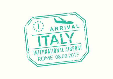 Italy Passport stamp. Visa stamp for travel. Rome international airport grunge sign. Immigration, arrival and departure symbol. Vector illustration.