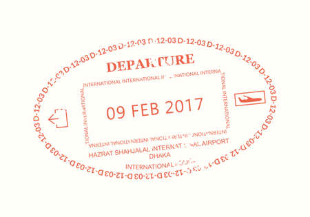 Bangladesh Passport stamp. Visa stamp for travel. Dhaka international airport grunge sign. Immigration, arrival and departure symbol. Vector illustration.