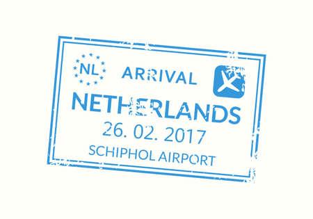 Netherlands passport stamp. Holland visa stamp for travel. Amsterdam international airport grunge sign. Immigration, arrival and departure symbol. Vector illustration. Çizim
