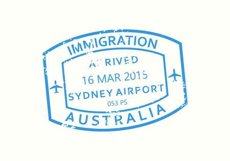 Australia passport stamp. Visa stamp for travel. Sydney international airport grunge sign. Immigration, arrival and departure symbol. Vector illustration.