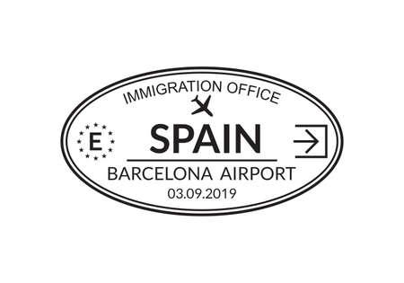 Spain passport stamp. Visa stamp for travel. Barcelona international airport grunge sign. Immigration, arrival and departure symbol. Vector illustration. Vettoriali