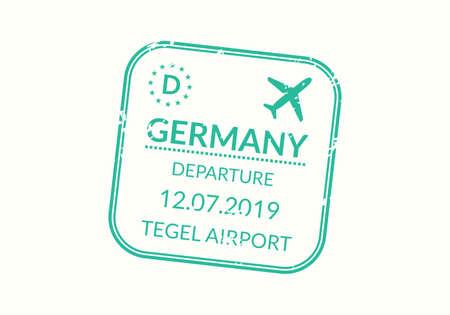 Germany Passport stamp. Visa stamp for travel. Berlin international airport grunge sign. Immigration, arrival and departure symbol. Vector illustration.