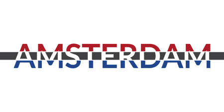 Amsterdam typography text. Modern design with Holland or Netherlands flag. T-shirt, print, poster, graphic template. Vector illustration. Çizim