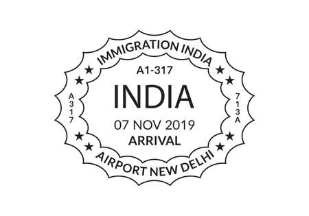 India Passport stamp. Visa stamp for travel. Delhi international airport grunge sign. Immigration, arrival and departure symbol. Vector illustration.