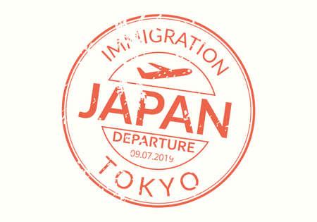 Japan Passport stamp. Visa stamp for travel. Tokyo international airport grunge sign. Immigration, arrival and departure symbol. Vector illustration. Çizim