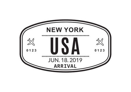 USA Passport stamp. Visa stamp for travel. New York international airport sign. Immigration, arrival and departure symbol. Vector illustration.