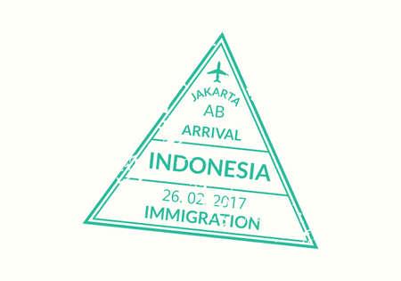 Indonesia passport stamp. Visa stamp for travel. Jakarta international airport grunge sign. Immigration, arrival and departure symbol. Vector illustration.