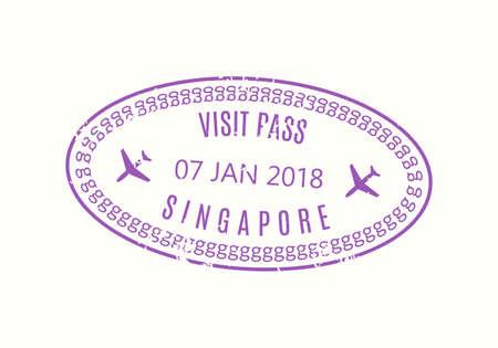 Singapore Passport stamp. Visa stamp for travel. New York international airport grunge sign. Immigration, arrival and departure symbol. Vector illustration. Çizim