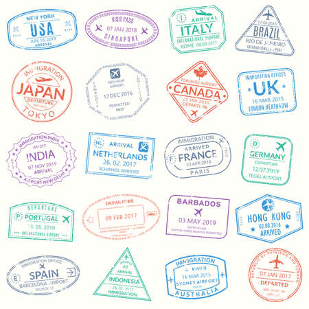 Passport stamp set. Visa stamps for travel. International airport grunge sign. Immigration, arrival and departure symbols with different cities and countries. Vector illustration. Çizim