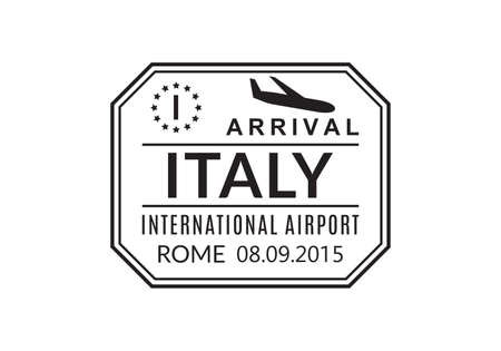 Italy Passport stamp. Visa stamp for travel. Rome international airport sign. Immigration, arrival and departure symbol. Vector illustration. Ilustração