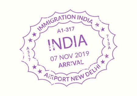 India Passport stamp. Visa stamp for travel. Delhi international airport grunge sign. Immigration, arrival and departure symbol. Vector illustration.