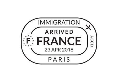 France Passport stamp. Visa stamp for travel. Paris international airport grunge sign. Immigration, arrival and departure symbol. Vector illustration. Ilustração