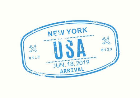 USA Passport stamp. Visa stamp for travel. New York international airport grunge sign. Immigration, arrival and departure symbol. Vector illustration. Çizim