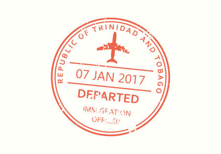 Trinidad and Tobago passport stamp. Visa stamp for travel. International airport grunge sign. Immigration, arrival and departure symbol. Vector illustration.