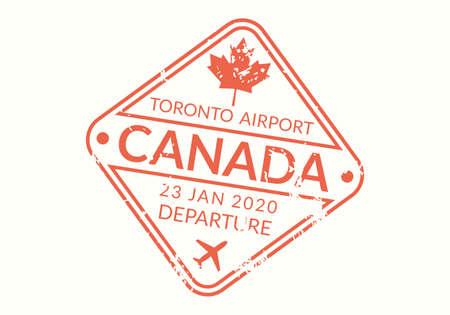 Canada Passport stamp. Visa stamp for travel. Toronto international airport grunge sign. Immigration, arrival and departure symbol. Vector illustration.