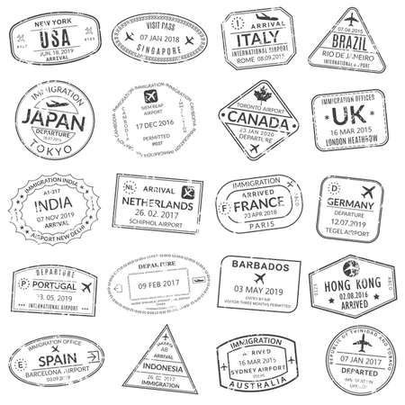 Passport stamp set. Visa stamps for travel. International airport grunge sign. Immigration, arrival and departure symbols with different cities and countries. Vector illustration. Illusztráció