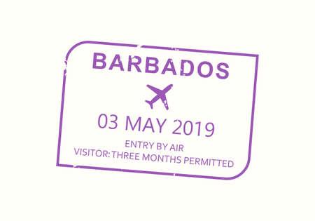 Barbados passport stamp. Visa stamp for travel. International airport grunge sign. Immigration, arrival and departure symbol. Vector illustration.