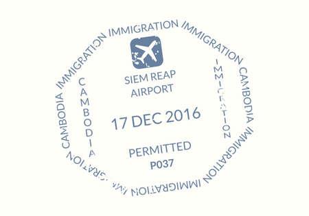 Cambodia Passport stamp. Visa stamp for travel. International airport grunge sign. Immigration, arrival and departure symbol. Vector illustration.
