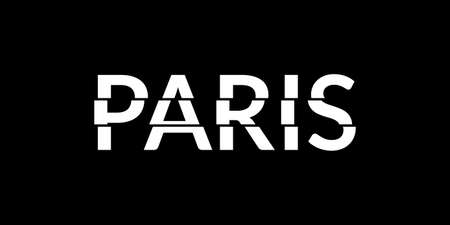 Paris typography text. Paris print or slogan with glitch effect. T-Shirt, print, poster, graphic design. Vector illustration.