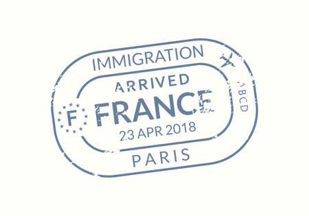 France Passport stamp. Visa stamp for travel. Paris international airport grunge sign. Immigration, arrival and departure symbol. Vector illustration. Çizim