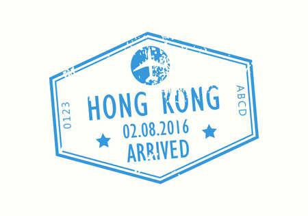 Hong Kong passport stamp. Visa stamp for travel. International airport grunge sign. Immigration, arrival and departure symbol. Vector illustration. Çizim
