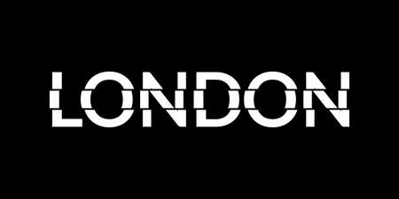 London typography text. London modern design with glitch effect. T-Shirt, print, poster, graphic. Vector illustration. Çizim