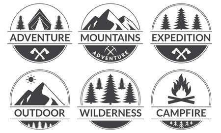 Adventure logo or badge set with mountains and forest. Outdoor expedition emblem. Camp with camfire label. Vector illustration.