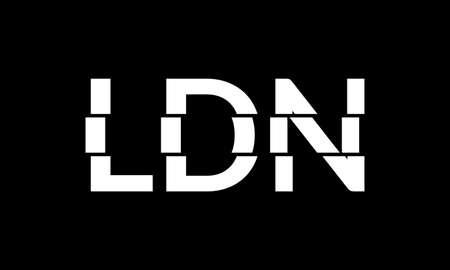 London typography text. LDN modern design. T-Shirt, print, poster, graphic. Vector illustration. Çizim