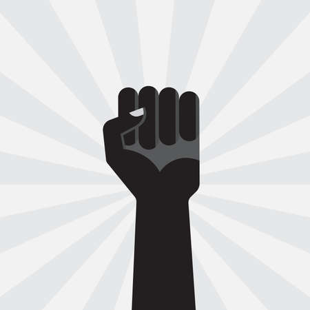 Fist up power. Hand with fist. Revolution, protest, propaganda and freedom symbol. Victory sign. Vector illustration. Çizim