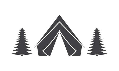 Tent in the forest icon. Adventure and Camp banner. Vector illustration.