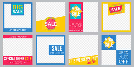 Sale banner set. Social media post or web ads design template. Price off discount background. Vector illustration.