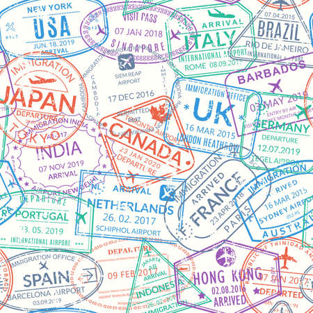 Passport stamp seamless pattern or background. International visa, airport grunge signs. Immigration, arrival and departure symbols with different cities and countries. Vector illustration.