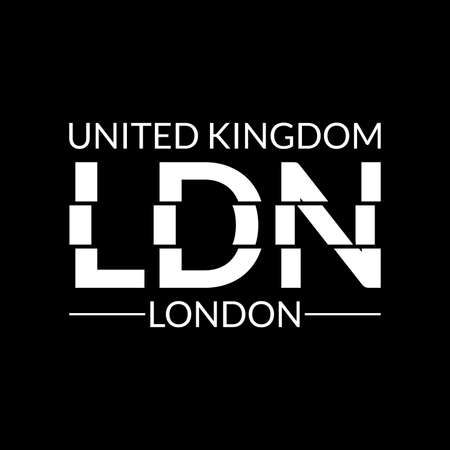 London typography text. LDN modern design. T-Shirt, print, poster, graphic. Vector illustration. Ilustração