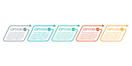 5 steps, option or levels line infographic with arrow. Timeline info graphic. Business presentation, information brochure, banner, workflow layout template. Vector illustration.