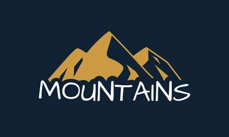 Mountains logo design. Mountain silhouette. Vector illustration. Çizim
